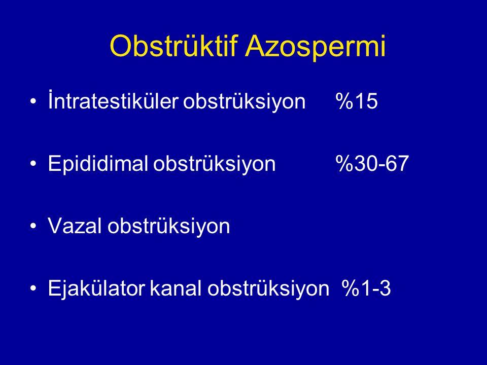 Obstrüktif Azospermi İntratestiküler obstrüksiyon %15 Epididimal obstrüksiyon %30-67 Vazal obstrüksiyon Ejakülator kanal obstrüksiyon %1-3