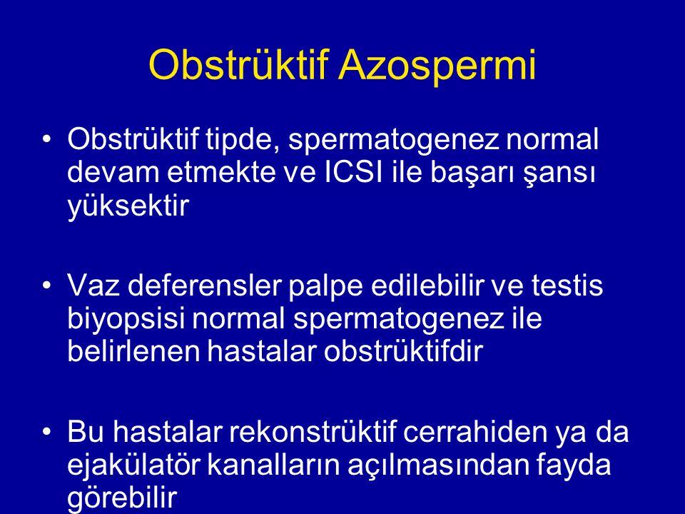 Obstrüktif Azospermi Obstrüktif tipde, spermatogenez normal devam etmekte ve ICSI ile başarı şansı yüksektir Vaz deferensler palpe edilebilir ve testi
