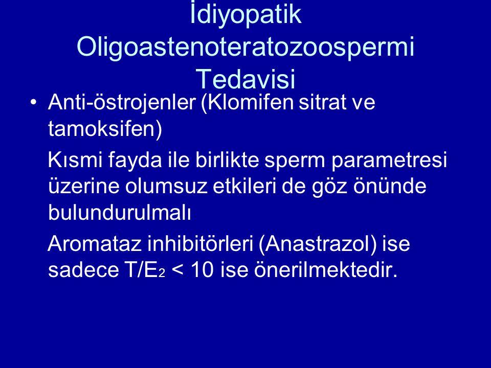 İdiyopatik Oligoastenoteratozoospermi Tedavisi Anti-östrojenler (Klomifen sitrat ve tamoksifen) Kısmi fayda ile birlikte sperm parametresi üzerine olumsuz etkileri de göz önünde bulundurulmalı Aromataz inhibitörleri (Anastrazol) ise sadece T/E 2 < 10 ise önerilmektedir.
