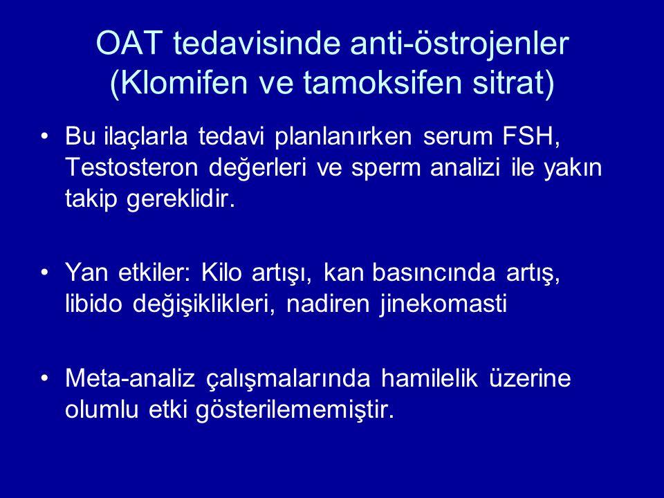 OAT tedavisinde anti-östrojenler (Klomifen ve tamoksifen sitrat) Bu ilaçlarla tedavi planlanırken serum FSH, Testosteron değerleri ve sperm analizi il