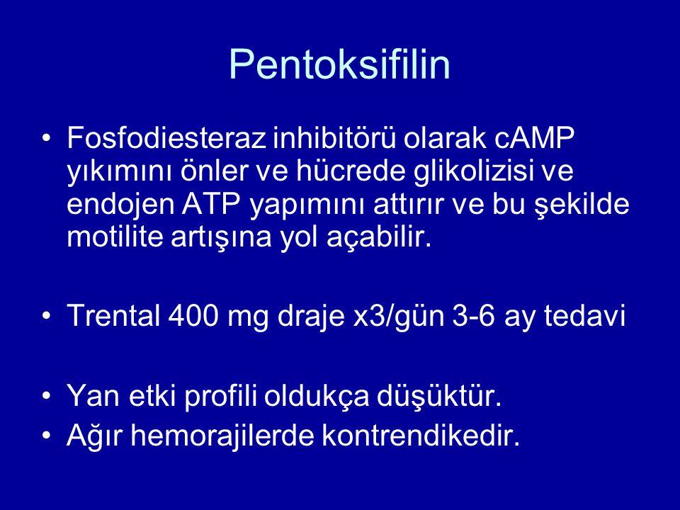 Pentoksifilin Fosfodiesteraz inhibitörü olarak cAMP yıkımını önler ve hücrede glikolizisi ve endojen ATP yapımını attırır ve bu şekilde motilite artışına yol açabilir.
