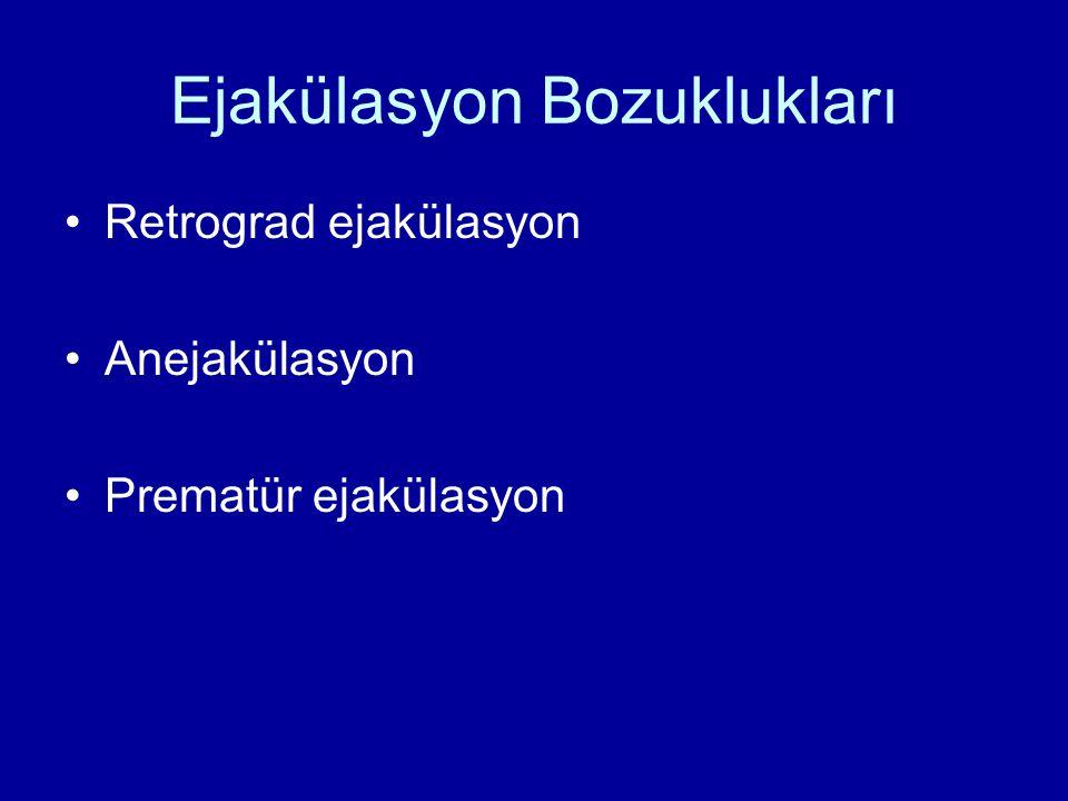 Ejakülasyon Bozuklukları Retrograd ejakülasyon Anejakülasyon Prematür ejakülasyon