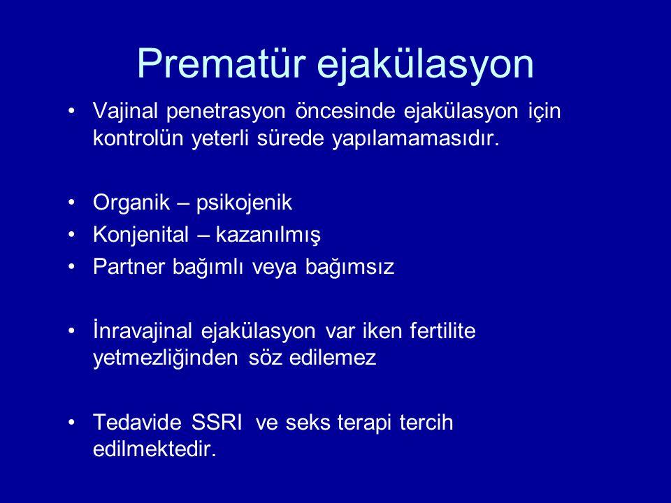 Vajinal penetrasyon öncesinde ejakülasyon için kontrolün yeterli sürede yapılamamasıdır. Organik – psikojenik Konjenital – kazanılmış Partner bağımlı