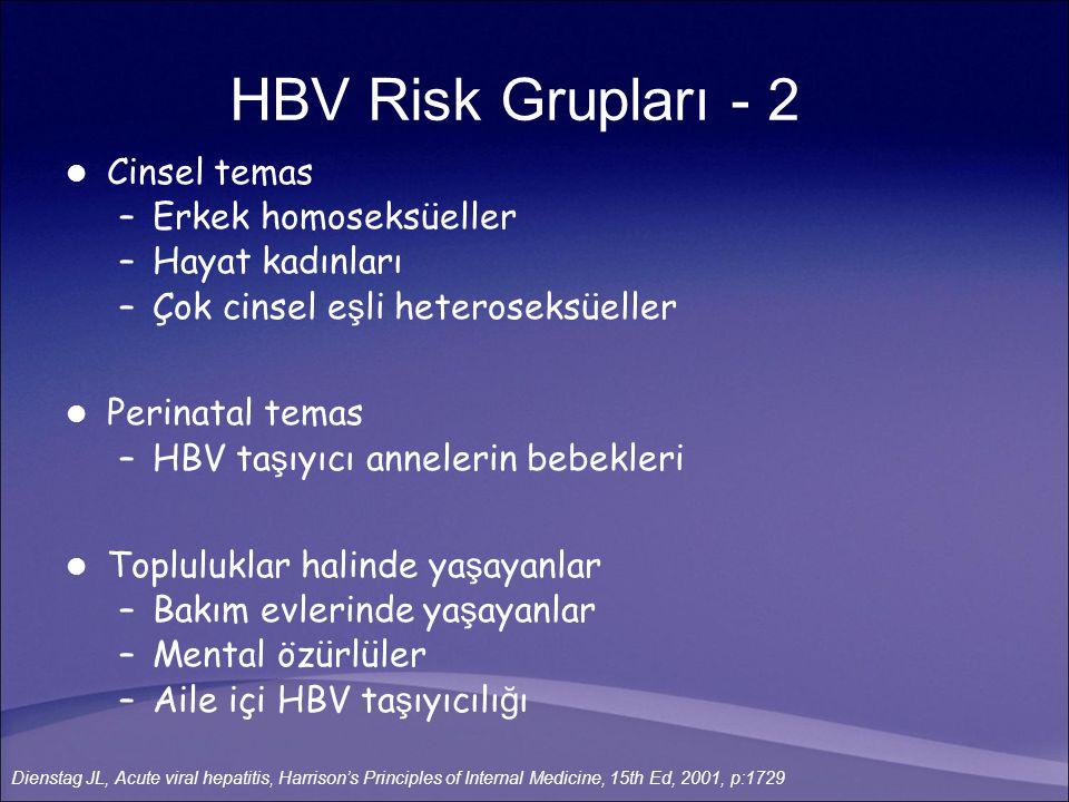 Cinsel temas –Erkek homoseksüeller –Hayat kadınları –Çok cinsel e ş li heteroseksüeller Perinatal temas –HBV ta ş ıyıcı annelerin bebekleri Toplulukla