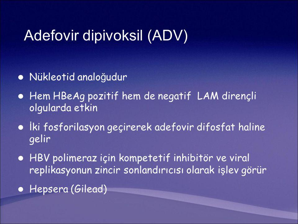 Adefovir dipivoksil (ADV) Nükleotid analo ğ udur Hem HBeAg pozitif hem de negatif LAM dirençli olgularda etkin İ ki fosforilasyon geçirerek adefovir difosfat haline gelir HBV polimeraz için kompetetif inhibitör ve viral replikasyonun zincir sonlandırıcısı olarak i ş lev görür Hepsera (Gilead)