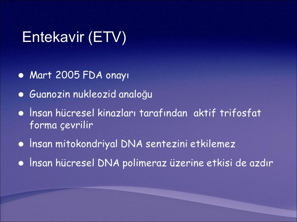 Entekavir (ETV) Mart 2005 FDA onayı Guanozin nukleozid analo ğ u İ nsan hücresel kinazları tarafından aktif trifosfat forma çevrilir İ nsan mitokondriyal DNA sentezini etkilemez İ nsan hücresel DNA polimeraz üzerine etkisi de azdır