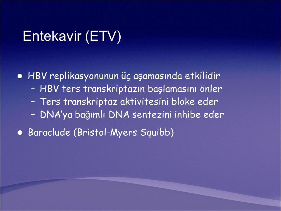 Entekavir (ETV) HBV replikasyonunun üç a ş amasında etkilidir –HBV ters transkriptazın ba ş lamasını önler –Ters transkriptaz aktivitesini bloke eder –DNA'ya ba ğ ımlı DNA sentezini inhibe eder Baraclude (Bristol-Myers Squibb)