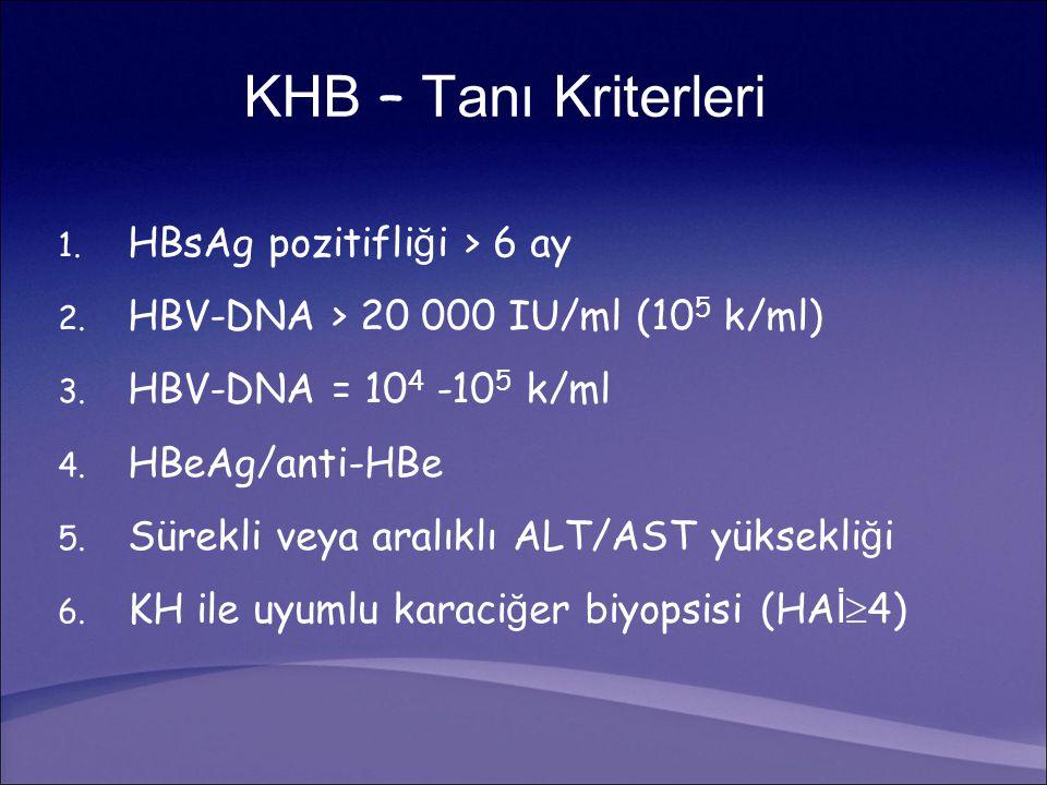 KHB – Tanı Kriterleri 1. HBsAg pozitifli ğ i > 6 ay 2. HBV-DNA > 20 000 IU/ml (10 5 k/ml) 3. HBV-DNA = 10 4 -10 5 k/ml 4. HBeAg/anti-HBe 5. Sürekli ve