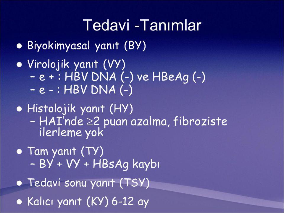 Tedavi -Tanımlar Biyokimyasal yanıt (BY) Virolojik yanıt (VY) –e + : HBV DNA (-) ve HBeAg (-) –e - : HBV DNA (-) Histolojik yanıt (HY) –HAI'nde  2 puan azalma, fibroziste ilerleme yok Tam yanıt (TY) –BY + VY + HBsAg kaybı Tedavi sonu yanıt (TSY) Kalıcı yanıt (KY) 6-12 ay