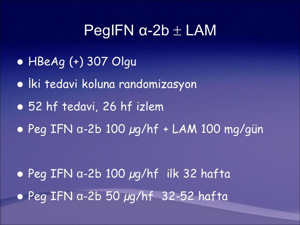 PegIFN α-2b  LAM HBeAg (+) 307 Olgu İ ki tedavi koluna randomizasyon 52 hf tedavi, 26 hf izlem Peg IFN α -2b 100 µg/hf + LAM 100 mg/gün Peg IFN α -2b 100 µg/hf ilk 32 hafta Peg IFN α -2b 50 µg/hf 32-52 hafta