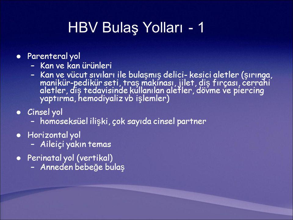 HBV ile infekte ki ş inin tüm vücut sıvılarında bulunur Oldukça bula ş ıcıdır (HIV'den 100 kat fazla) En çok bula ş tırıcılık kan, semen, vajinal sıvı ve menstural kan ile HBV Bulaş Yolları - 2 1-Peter MG.