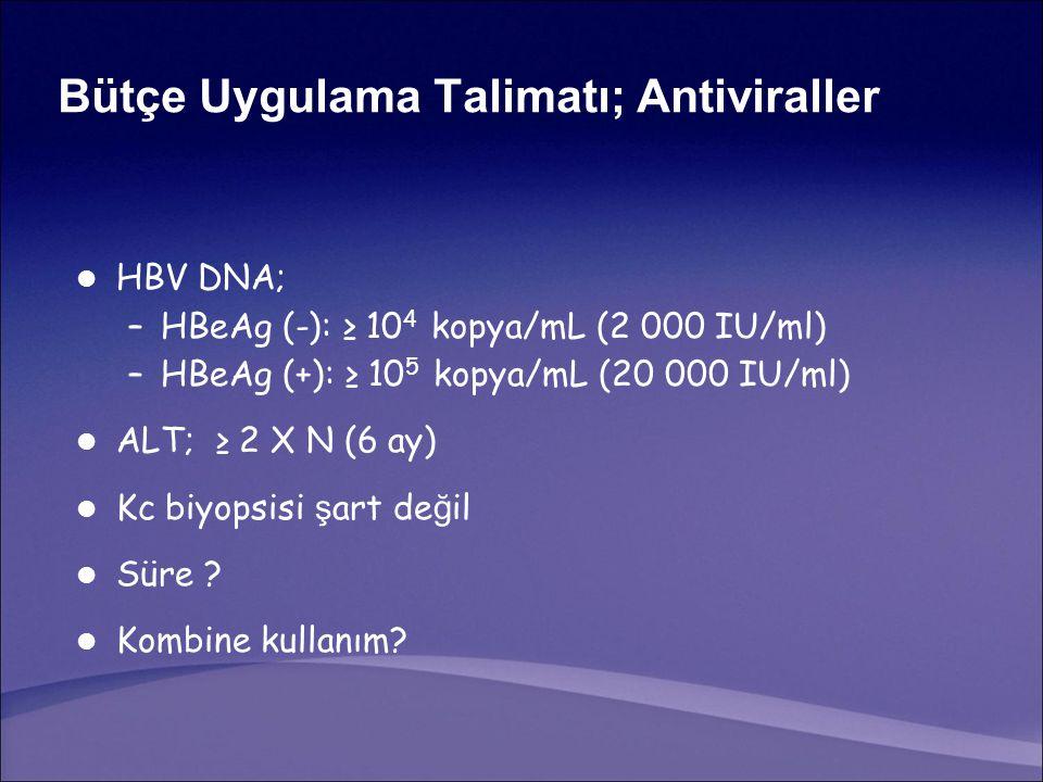 Bütçe Uygulama Talimatı; Antiviraller HBV DNA; –HBeAg (-): ≥ 10 4 kopya/mL (2 000 IU/ml) –HBeAg (+): ≥ 10 5 kopya/mL (20 000 IU/ml) ALT; ≥ 2 X N (6 ay