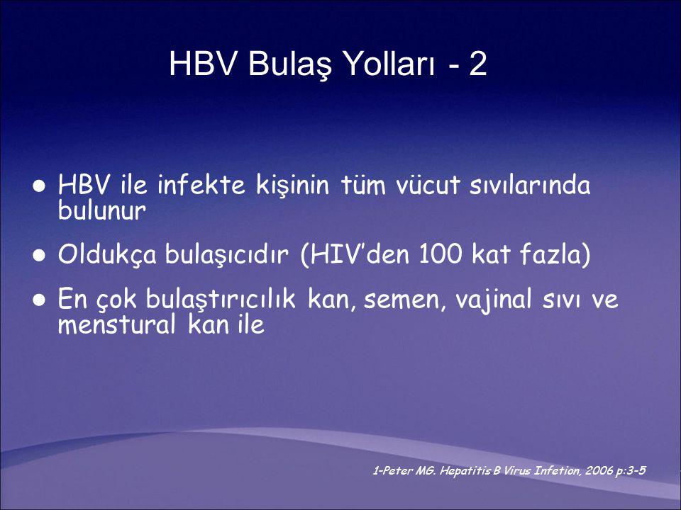 HBV ile infekte ki ş inin tüm vücut sıvılarında bulunur Oldukça bula ş ıcıdır (HIV'den 100 kat fazla) En çok bula ş tırıcılık kan, semen, vajinal sıvı