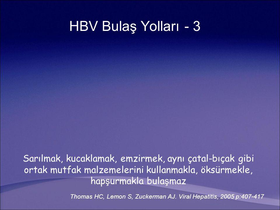 HBV Bulaş Yolları - 3 Sarılmak, kucaklamak, emzirmek, aynı çatal-bıçak gibi ortak mutfak malzemelerini kullanmakla, öksürmekle, hap ş urmakla bula ş maz Thomas HC, Lemon S, Zuckerman AJ.