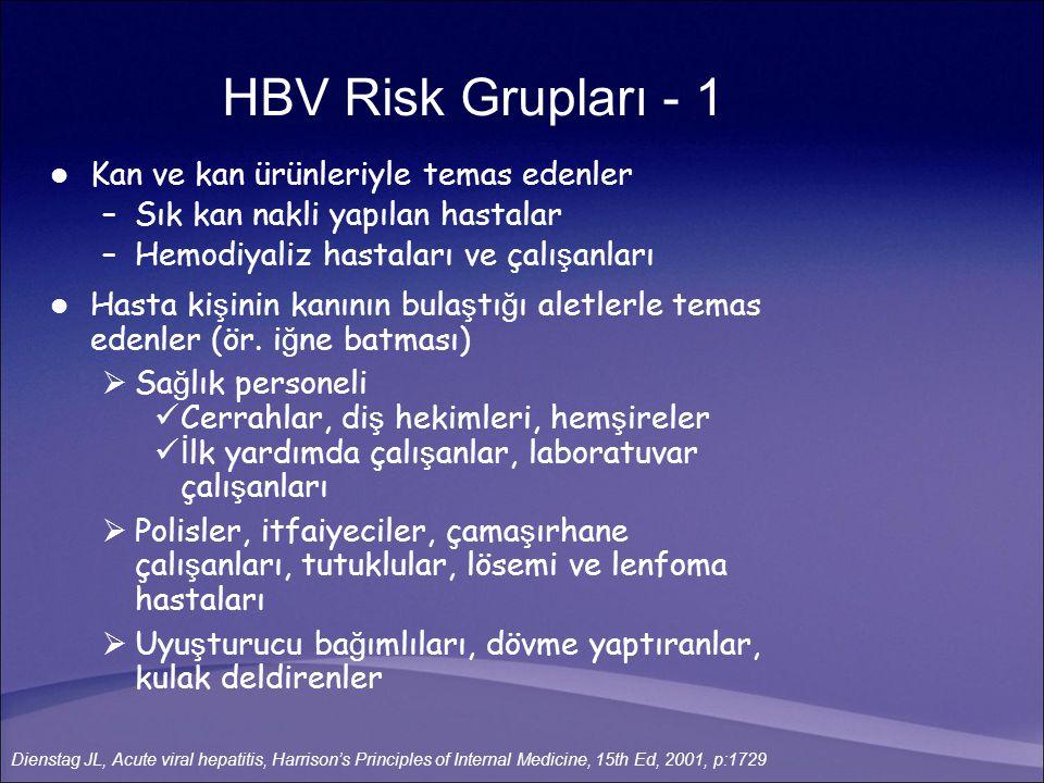 Cinsel temas –Erkek homoseksüeller –Hayat kadınları –Çok cinsel e ş li heteroseksüeller Perinatal temas –HBV ta ş ıyıcı annelerin bebekleri Topluluklar halinde ya ş ayanlar –Bakım evlerinde ya ş ayanlar –Mental özürlüler –Aile içi HBV ta ş ıyıcılı ğ ı HBV Risk Grupları - 2 Hou J, Int J Med Sci.2005; 2(1): 50-7 Dienstag JL, Acute viral hepatitis, Harrison's Principles of Internal Medicine, 15th Ed, 2001, p:1729