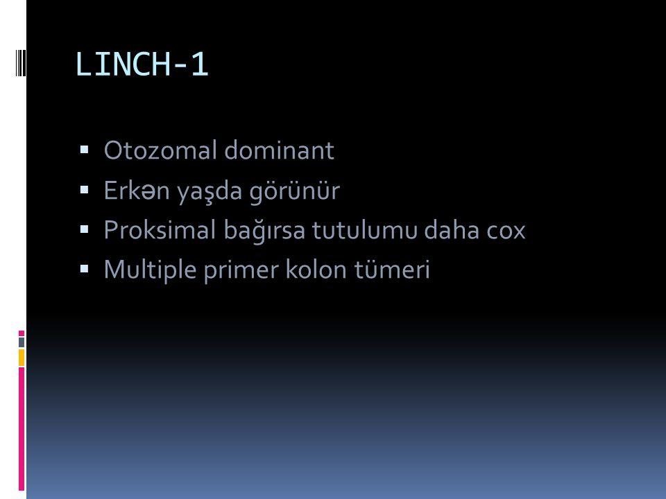 LINCH-1  Otozomal dominant  Erk ə n yaşda görünür  Proksimal bağırsa tutulumu daha cox  Multiple primer kolon tümeri
