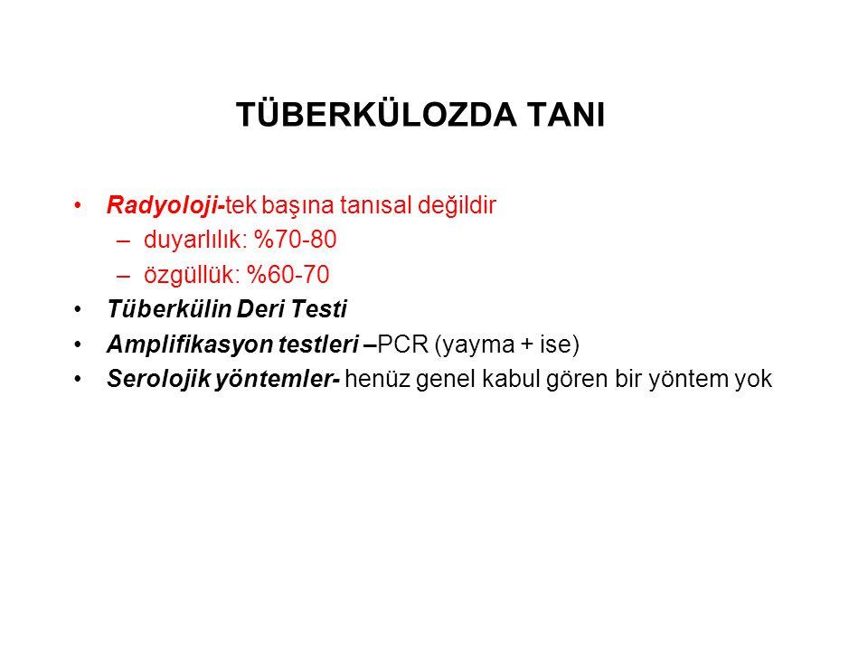 TÜBERKÜLOZDA TANI Radyoloji-tek başına tanısal değildir –duyarlılık: %70-80 –özgüllük: %60-70 Tüberkülin Deri Testi Amplifikasyon testleri –PCR (yayma