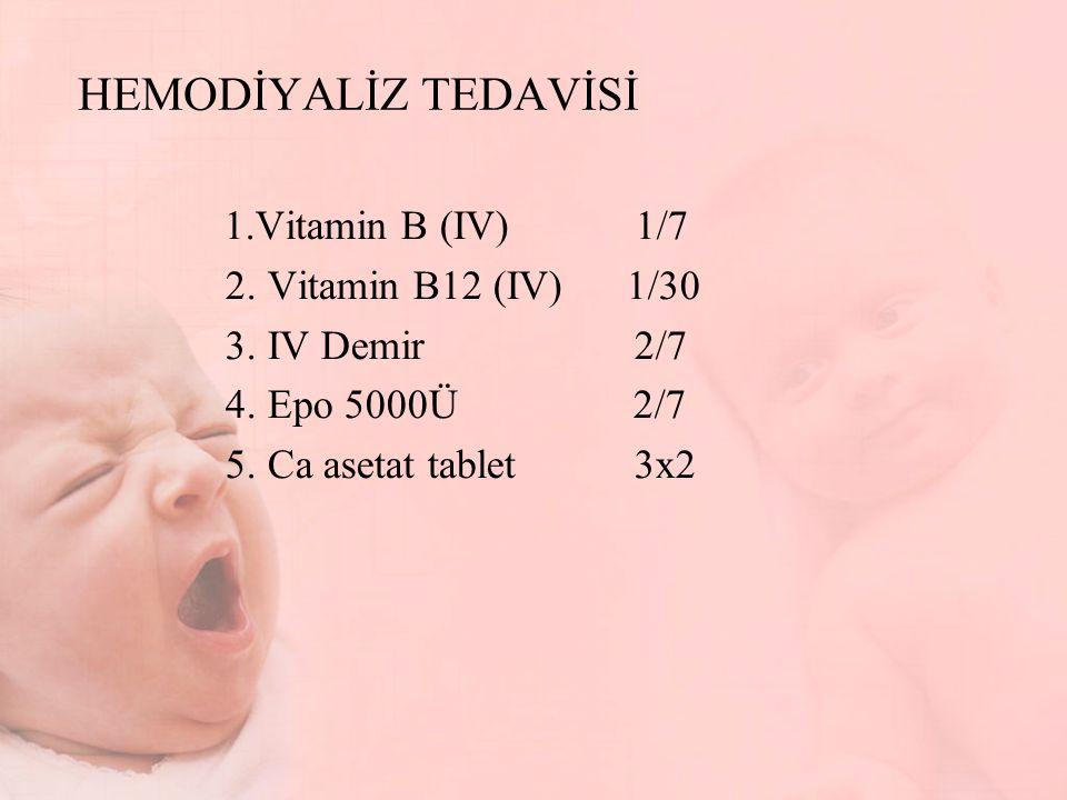 HEMODİYALİZ TEDAVİSİ 1.Vitamin B (IV) 1/7 2. Vitamin B12 (IV) 1/30 3. IV Demir 2/7 4. Epo 5000Ü 2/7 5. Ca asetat tablet 3x2