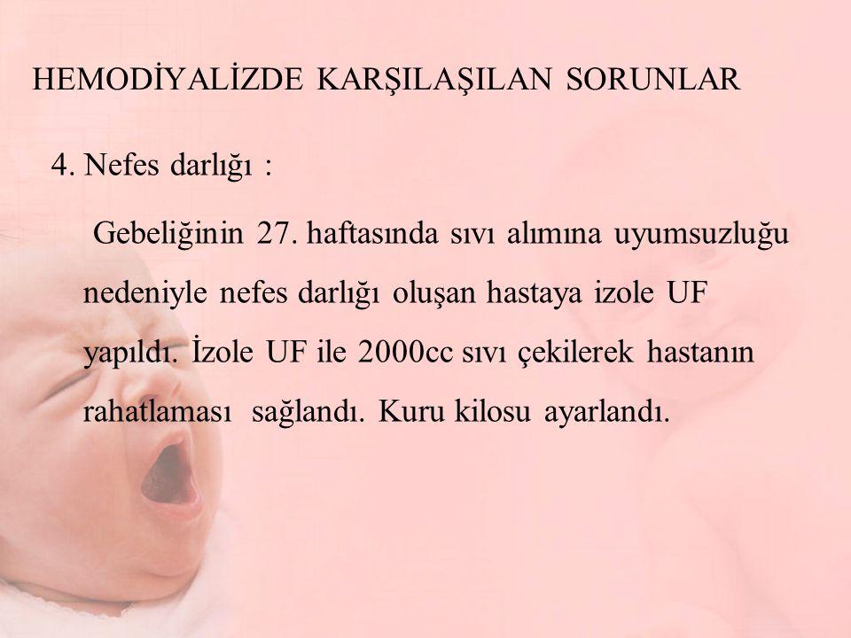 HEMODİYALİZDE KARŞILAŞILAN SORUNLAR 4.Nefes darlığı : Gebeliğinin 27.
