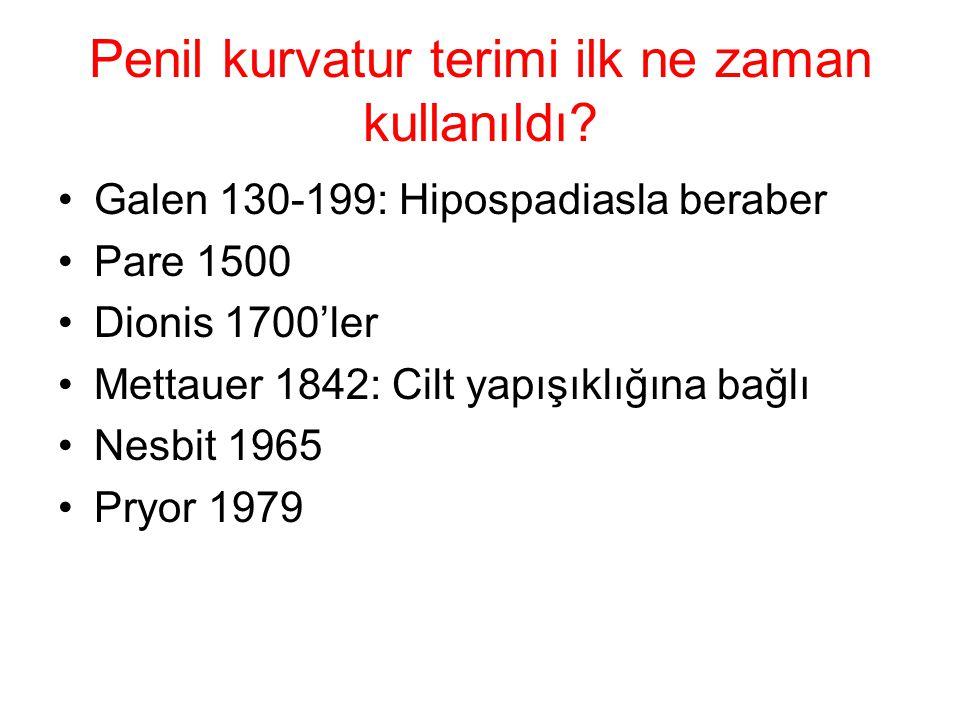 Penil kurvatur terimi ilk ne zaman kullanıldı? Galen 130-199: Hipospadiasla beraber Pare 1500 Dionis 1700'ler Mettauer 1842: Cilt yapışıklığına bağlı