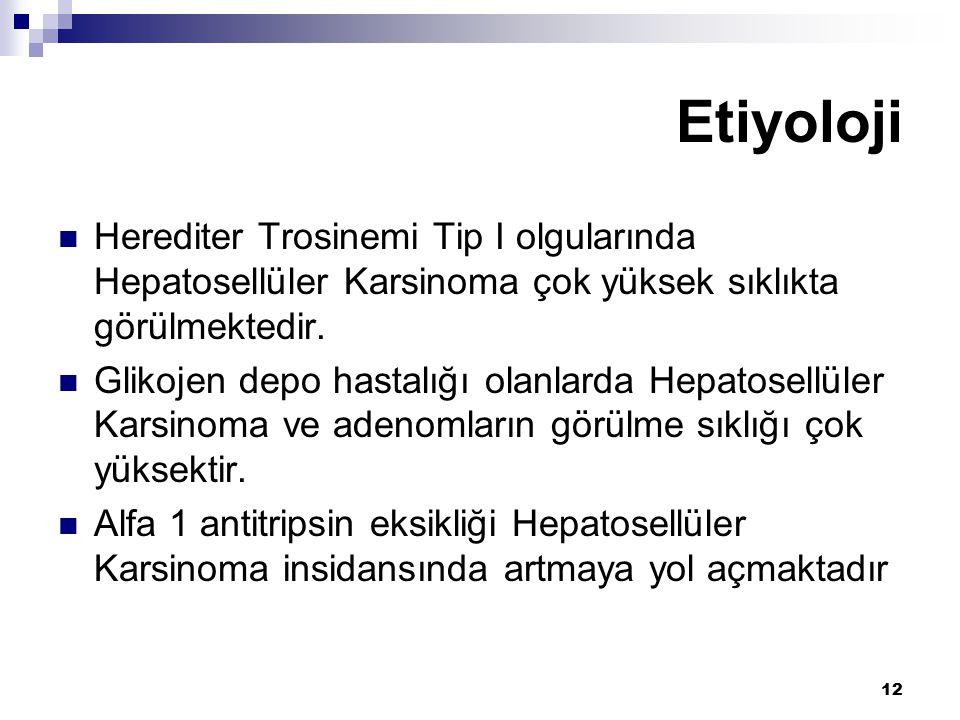 12 Herediter Trosinemi Tip I olgularında Hepatosellüler Karsinoma çok yüksek sıklıkta görülmektedir. Glikojen depo hastalığı olanlarda Hepatosellüler