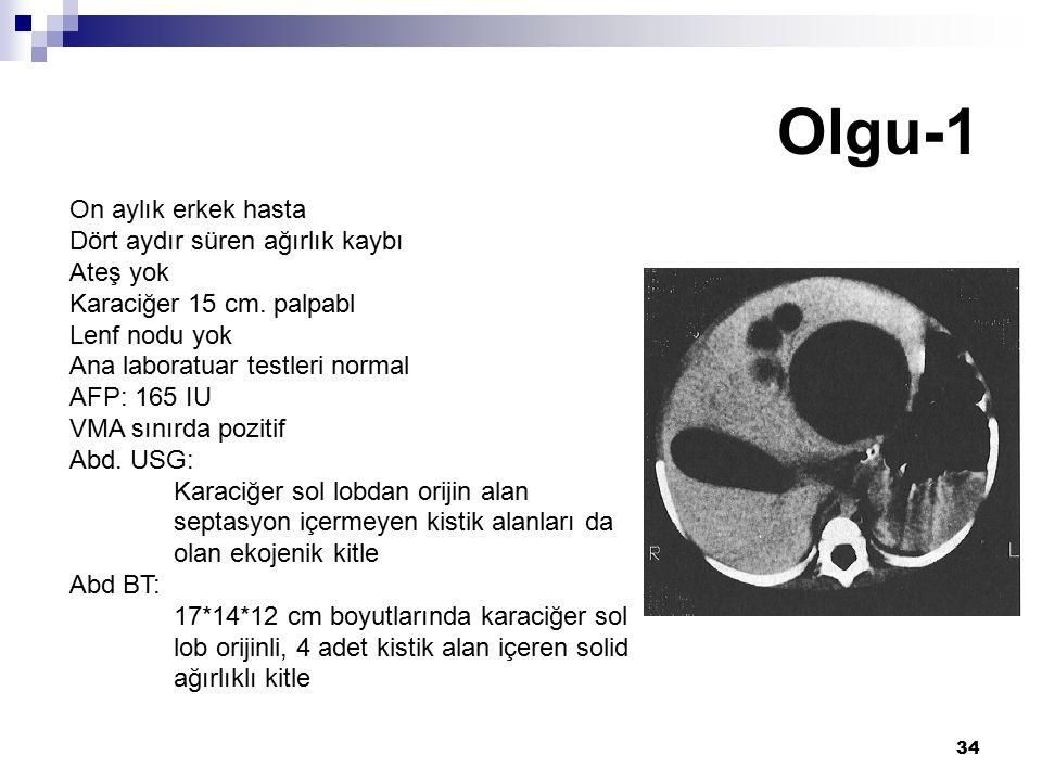 34 Olgu-1 On aylık erkek hasta Dört aydır süren ağırlık kaybı Ateş yok Karaciğer 15 cm. palpabl Lenf nodu yok Ana laboratuar testleri normal AFP: 165