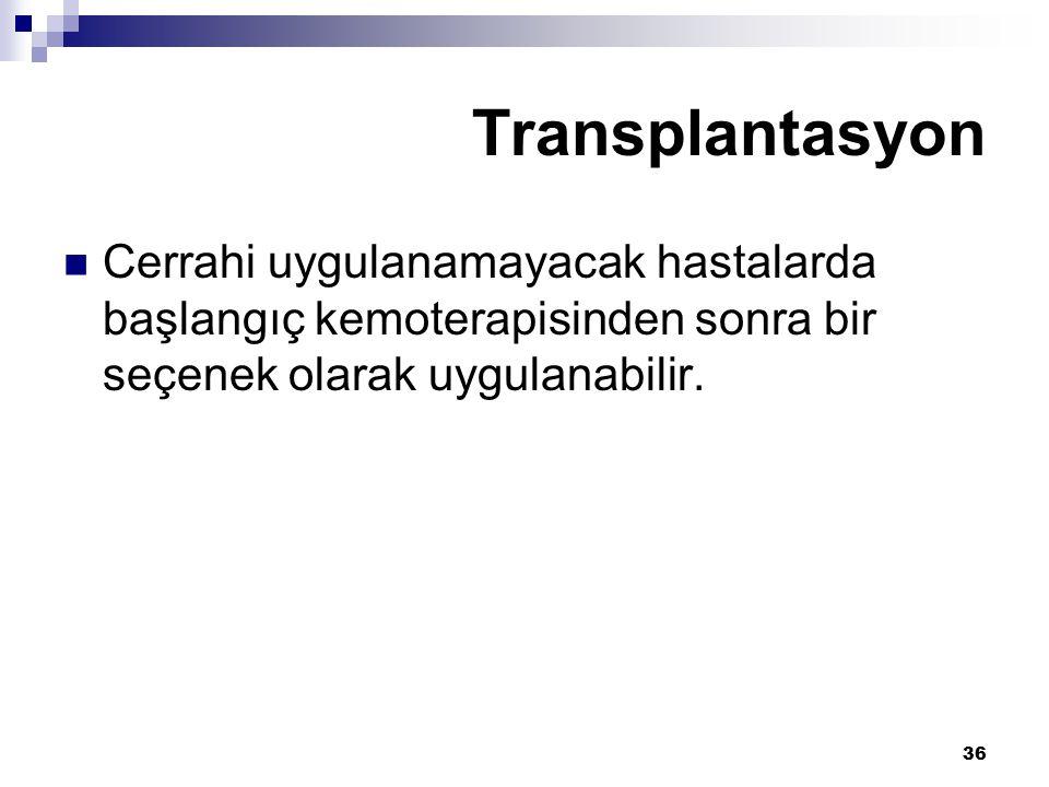 36 Cerrahi uygulanamayacak hastalarda başlangıç kemoterapisinden sonra bir seçenek olarak uygulanabilir. Transplantasyon