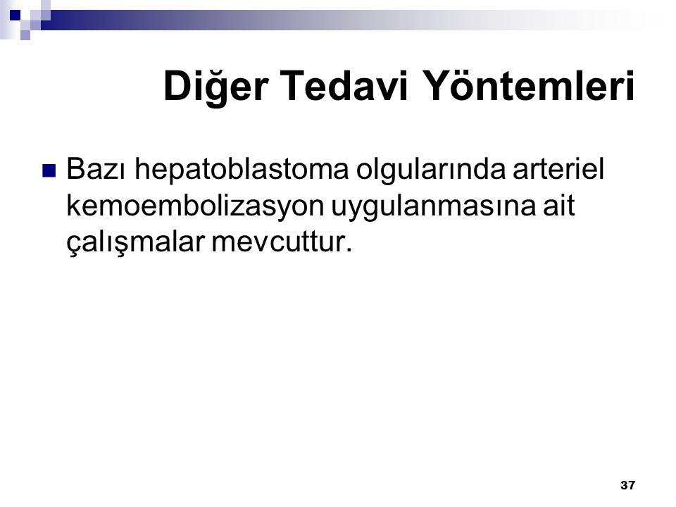 37 Bazı hepatoblastoma olgularında arteriel kemoembolizasyon uygulanmasına ait çalışmalar mevcuttur.
