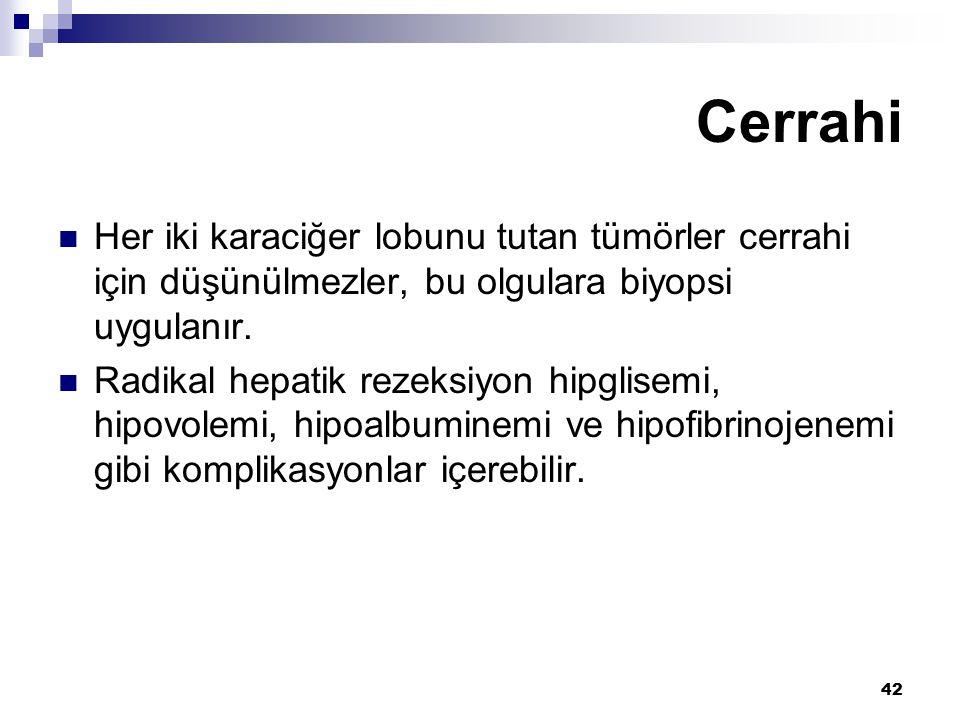 42 Her iki karaciğer lobunu tutan tümörler cerrahi için düşünülmezler, bu olgulara biyopsi uygulanır. Radikal hepatik rezeksiyon hipglisemi, hipovolem