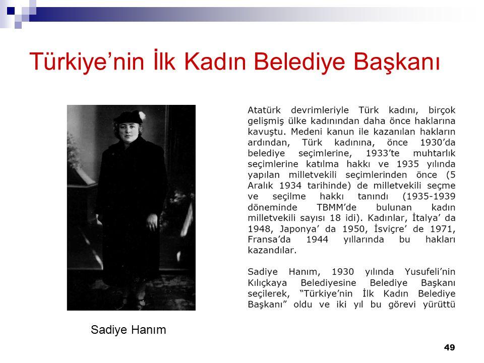 49 Türkiye'nin İlk Kadın Belediye Başkanı Sadiye Hanım