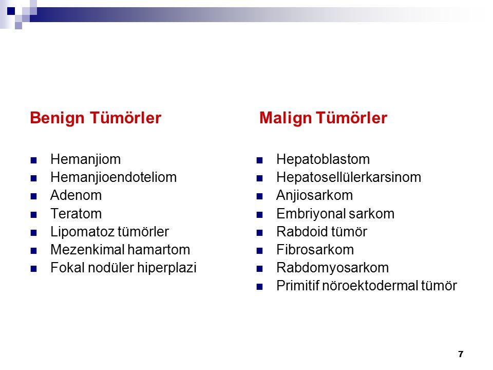7 Benign Tümörler Hemanjiom Hemanjioendoteliom Adenom Teratom Lipomatoz tümörler Mezenkimal hamartom Fokal nodüler hiperplazi Malign Tümörler Hepatobl