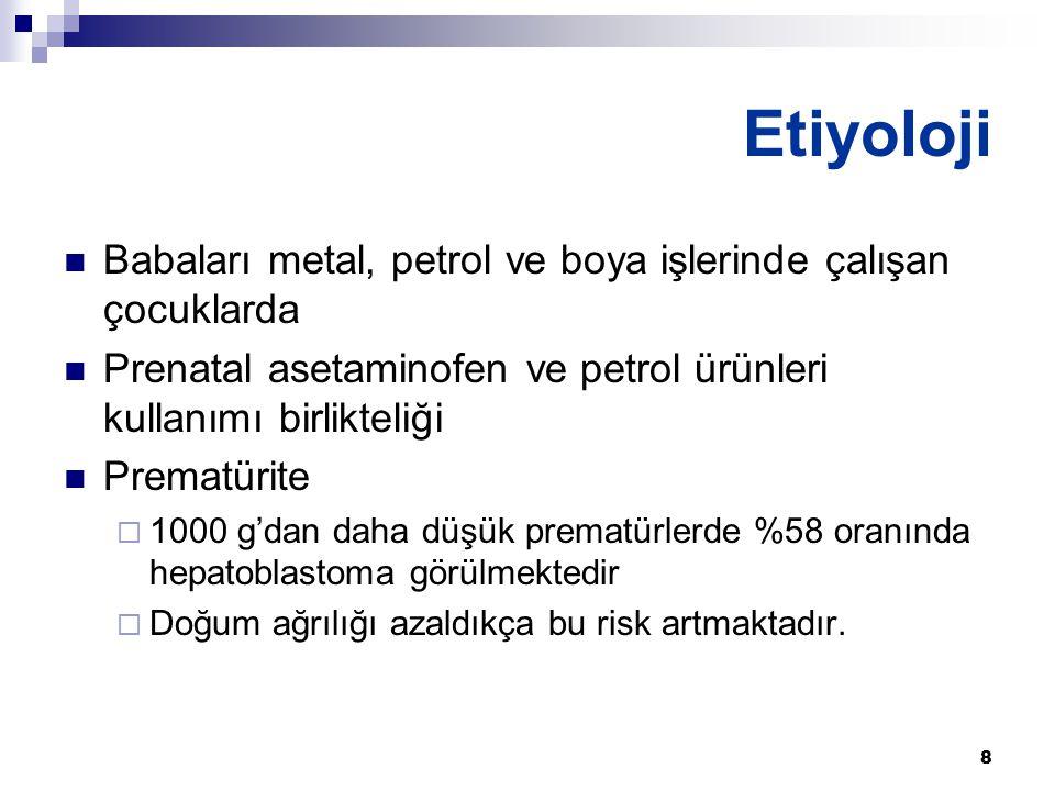 8 Babaları metal, petrol ve boya işlerinde çalışan çocuklarda Prenatal asetaminofen ve petrol ürünleri kullanımı birlikteliği Prematürite  1000 g'dan