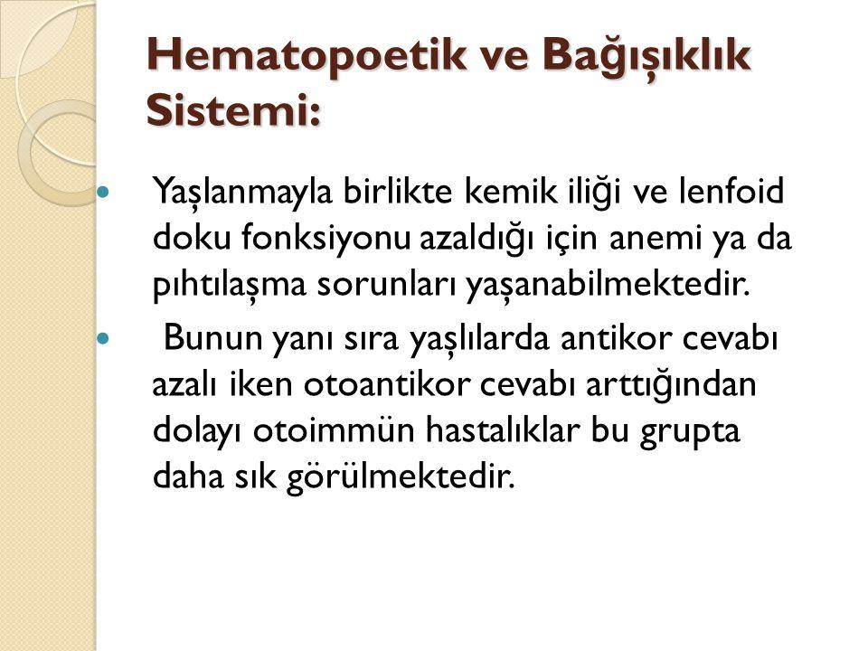 Hematopoetik ve Ba ğ ışıklık Sistemi: Yaşlanmayla birlikte kemik ili ğ i ve lenfoid doku fonksiyonu azaldı ğ ı için anemi ya da pıhtılaşma sorunları y