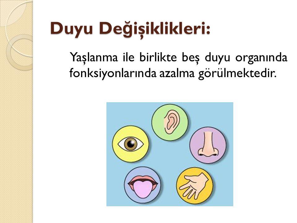 Duyu De ğ işiklikleri: Yaşlanma ile birlikte beş duyu organında fonksiyonlarında azalma görülmektedir.