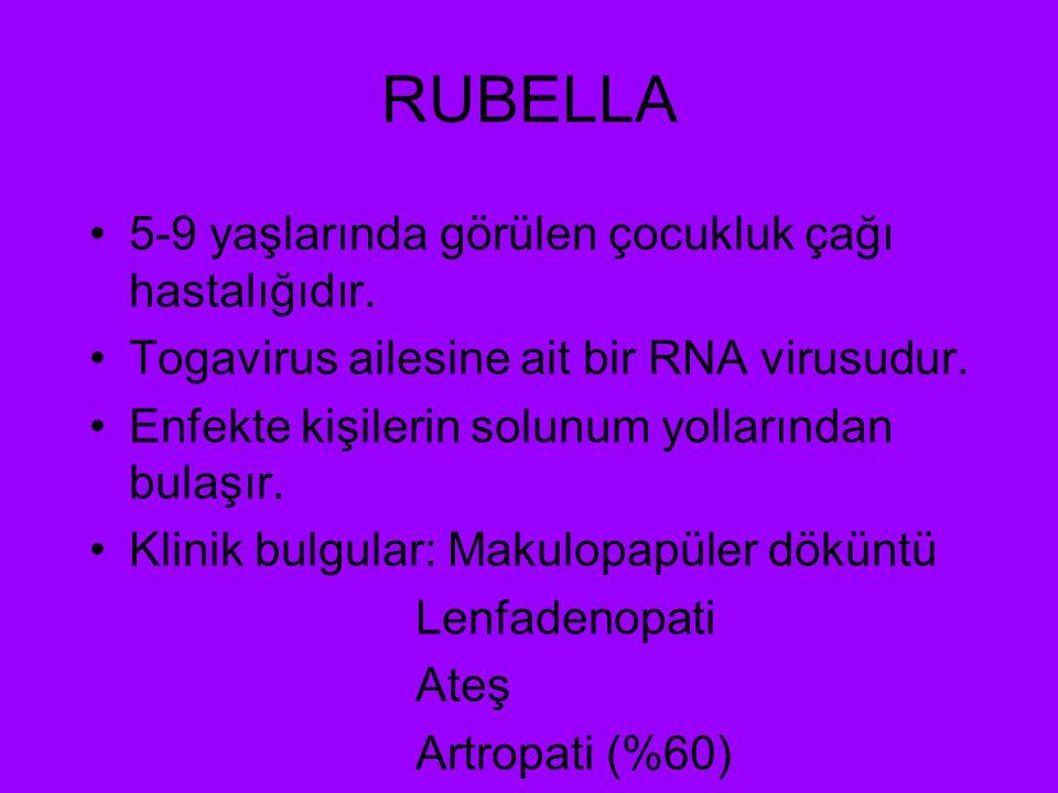 RUBELLA 5-9 yaşlarında görülen çocukluk çağı hastalığıdır. Togavirus ailesine ait bir RNA virusudur. Enfekte kişilerin solunum yollarından bulaşır. Kl