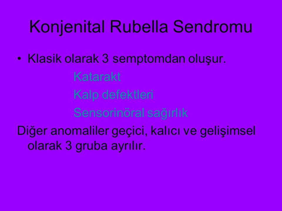 Konjenital Rubella Sendromu Geçici semptomlar Adenopati, hepatosplenomegali Trombositopeni Ensefalit İnterstisyel pnömoni Kemik radyolusensi IUGR
