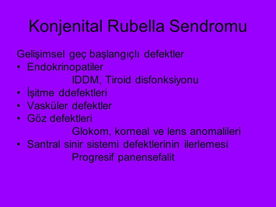 Konjenital Rubella Sendromu Gelişimsel geç başlangıçlı defektler Endokrinopatiler IDDM, Tiroid disfonksiyonu İşitme ddefektleri Vasküler defektler Göz