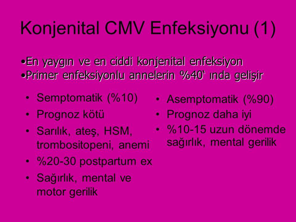 Konjenital CMV Enfeksiyonu (2) Recurren maternal enfeksiyonlu annelerden doğanlarda %1-2 konjenital CMV enfeksiyonu gelişir ve genellikle asemptomatiktir.