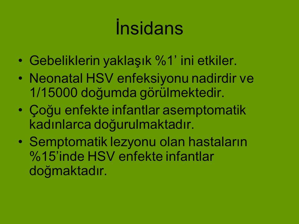 Maternal Enfeksiyon (1) Klinik olarak yetişkinlerde üç şekilde ortaya çıkar: 1) Gerçek Primer HSV Enfeksiyonu 2) İnisial nonprimer HSV Enfeksiyonu 3) Recurren Genital HSV Enfeksiyonu