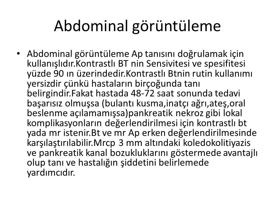 Abdominal görüntüleme Abdominal görüntüleme Ap tanısını doğrulamak için kullanışlıdır.Kontrastlı BT nin Sensivitesi ve spesifitesi yüzde 90 ın üzerind