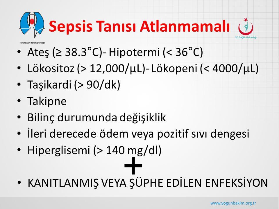 Sepsis Tanısı Atlanmamalı Ateş (≥ 38.3°C)- Hipotermi (< 36°C) Lökositoz (> 12,000/µL)- Lökopeni (< 4000/µL) Taşikardi (> 90/dk) Takipne Bilinç durumun