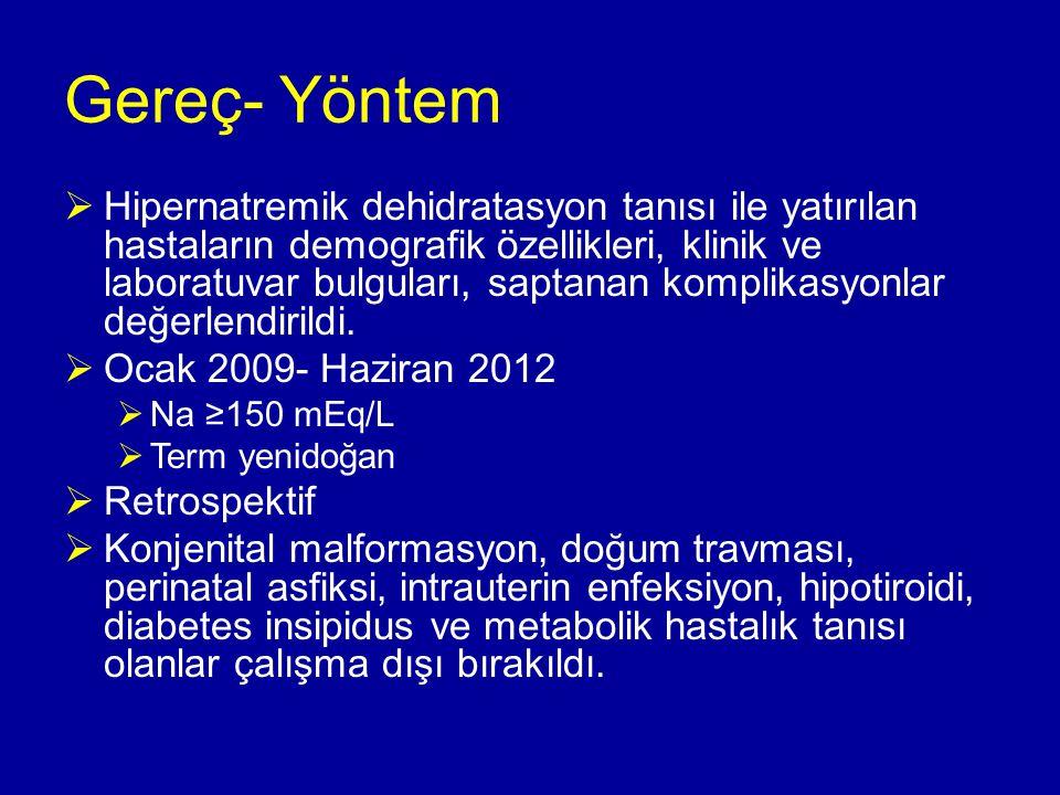 Sonuç olarak  Yenidoğanda hipernatremi, risklerinin bilincinde olunması ve yenidoğanın değişen gereksinimlerinin duyarlılıkla ele alınması ile önlenebilir.