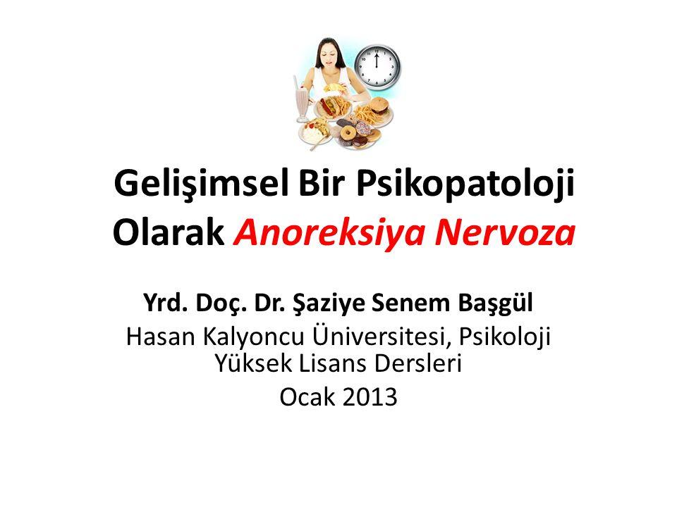Gelişimsel Bir Psikopatoloji Olarak Anoreksiya Nervoza Yrd. Doç. Dr. Şaziye Senem Başgül Hasan Kalyoncu Üniversitesi, Psikoloji Yüksek Lisans Dersleri