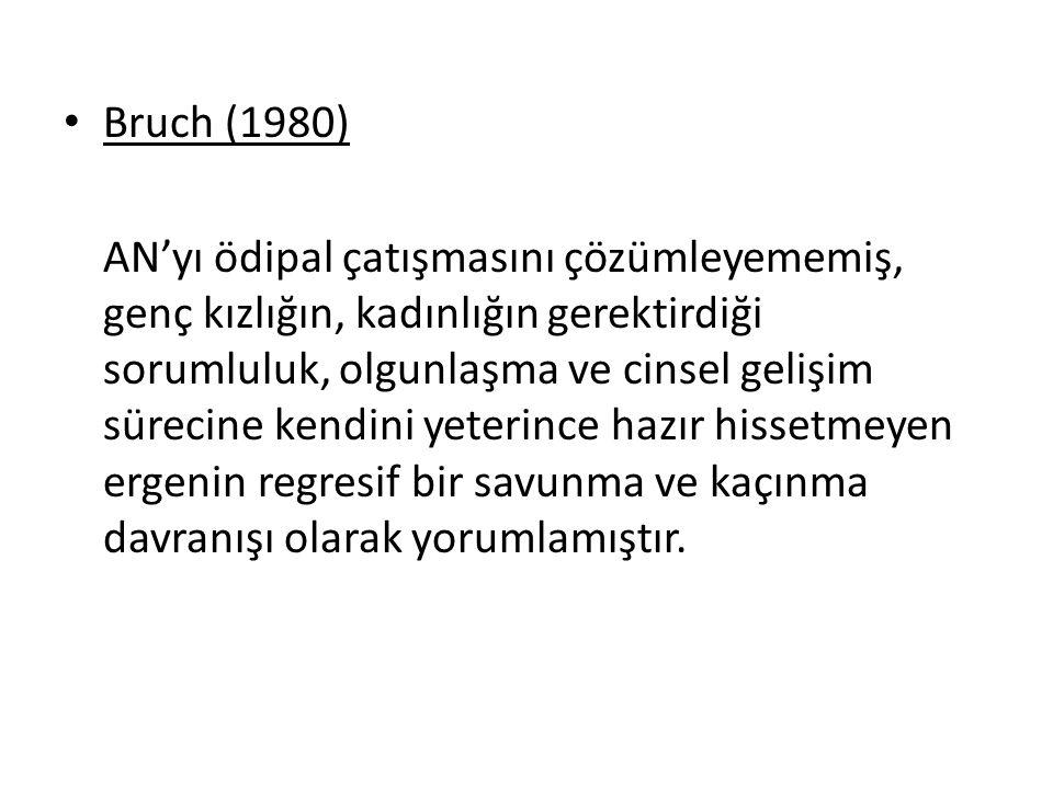 Bruch (1980) AN'yı ödipal çatışmasını çözümleyememiş, genç kızlığın, kadınlığın gerektirdiği sorumluluk, olgunlaşma ve cinsel gelişim sürecine kendini