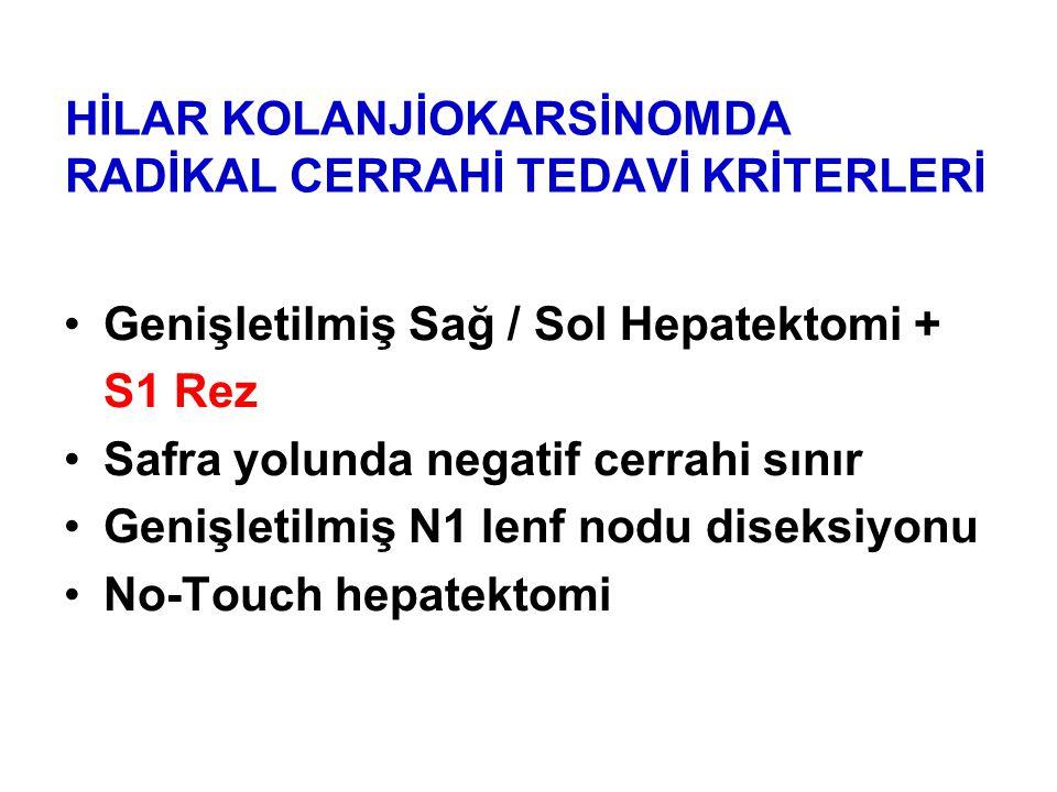 HİLAR KOLANJİOKARSİNOMDA RADİKAL CERRAHİ TEDAVİ KRİTERLERİ Genişletilmiş Sağ / Sol Hepatektomi + S1 Rez Safra yolunda negatif cerrahi sınır Genişletilmiş N1 lenf nodu diseksiyonu No-Touch hepatektomi