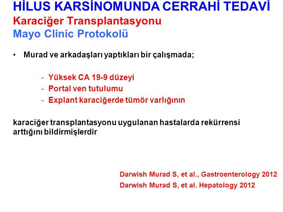 Murad ve arkadaşları yaptıkları bir çalışmada; -Yüksek CA 19-9 düzeyi -Portal ven tutulumu -Explant karaciğerde tümör varlığının karaciğer transplantasyonu uygulanan hastalarda rekürrensi arttığını bildirmişlerdir HİLUS KARSİNOMUNDA CERRAHİ TEDAVİ Karaciğer Transplantasyonu Mayo Clinic Protokolü Darwish Murad S, et al., Gastroenterology 2012 Darwish Murad S, et al.
