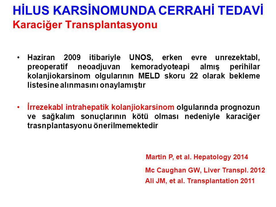 Haziran 2009 itibariyle UNOS, erken evre unrezektabl, preoperatif neoadjuvan kemoradyoteapi almış perihilar kolanjiokarsinom olgularının MELD skoru 22 olarak bekleme listesine alınmasını onaylamıştır İrrezekabl intrahepatik kolanjiokarsinom olgularında prognozun ve sağkalım sonuçlarının kötü olması nedeniyle karaciğer trasnplantasyonu önerilmemektedir Martin P, et al.