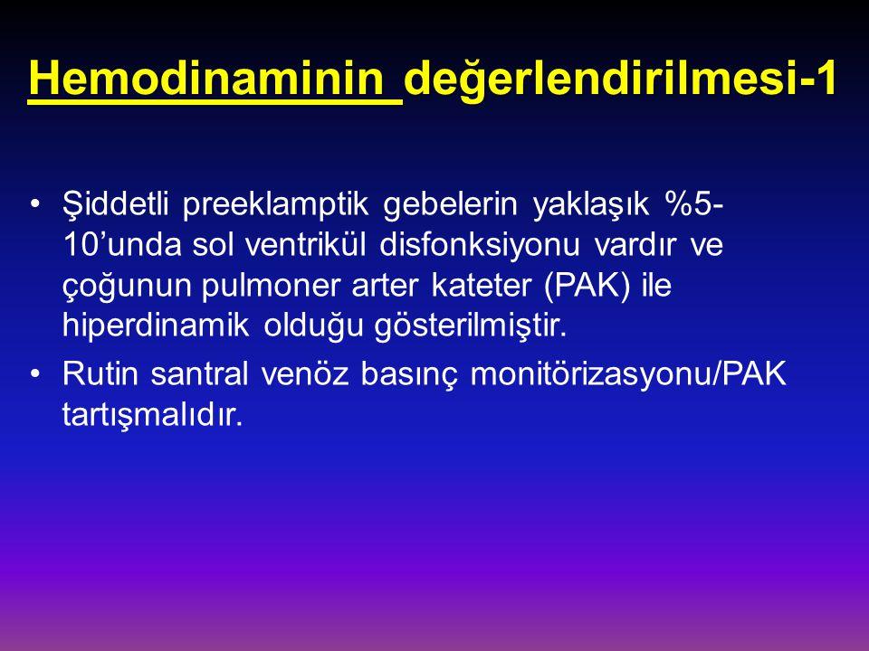 Hemodinaminin değerlendirilmesi-1 Şiddetli preeklamptik gebelerin yaklaşık %5- 10'unda sol ventrikül disfonksiyonu vardır ve çoğunun pulmoner arter ka