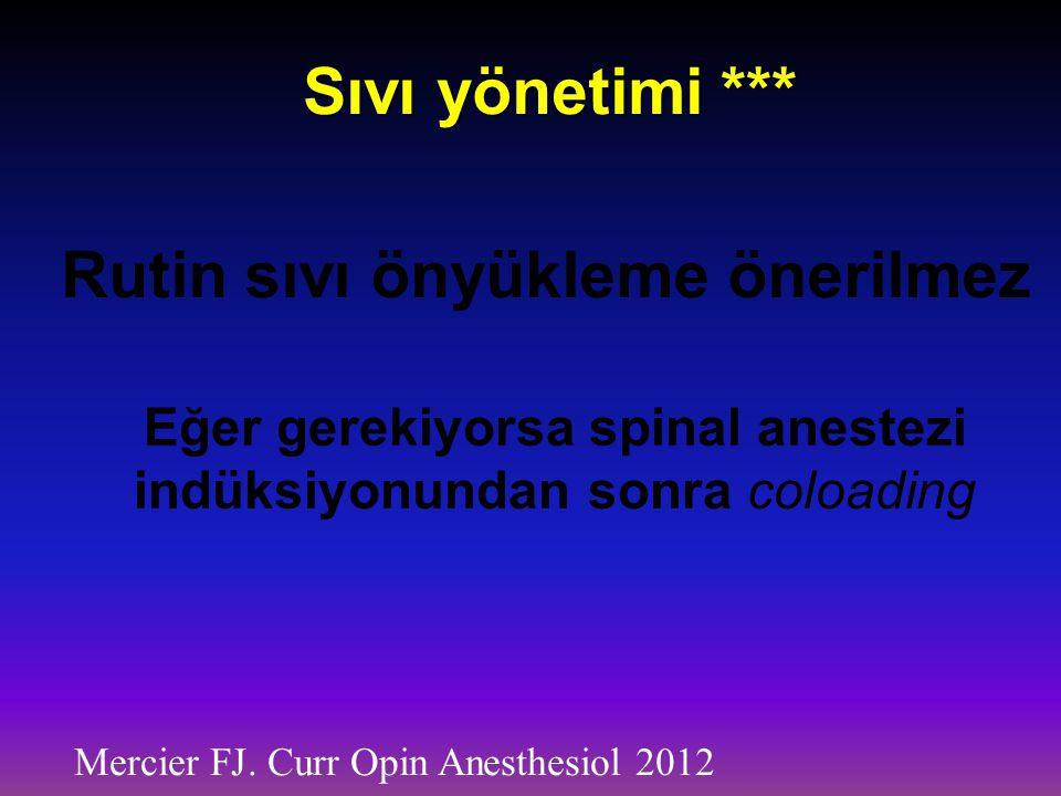 Sıvı yönetimi *** Mercier FJ. Curr Opin Anesthesiol 2012 Rutin sıvı önyükleme önerilmez Eğer gerekiyorsa spinal anestezi indüksiyonundan sonra coloadi