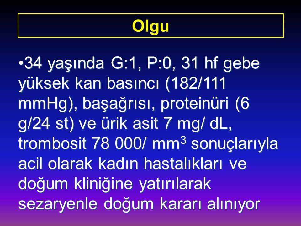 34 yaşında G:1, P:0, 31 hf gebe yüksek kan basıncı (182/111 mmHg), başağrısı, proteinüri (6 g/24 st) ve ürik asit 7 mg/ dL, trombosit 78 000/ mm 3 son
